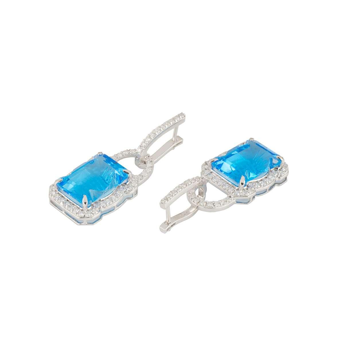 White Gold Blue Topaz and Diamond Earrings